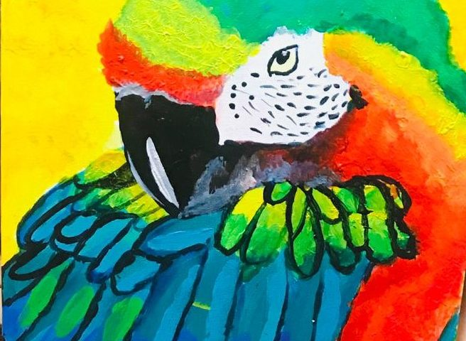 Paint a Beautiful Acrylic Scarlet Macaw