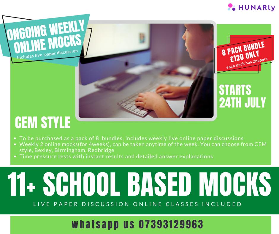 CEM Style 11+ school based MOCKS